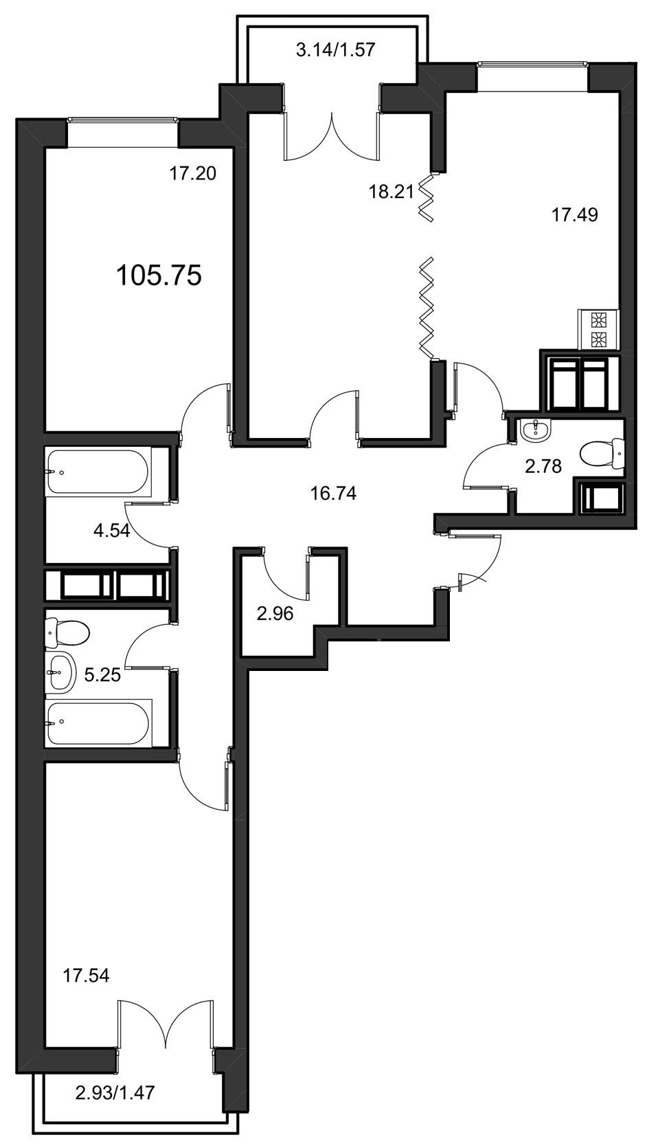 Планировка Трёхкомнатная квартира площадью 105.75 кв.м в ЖК «Leningrad»