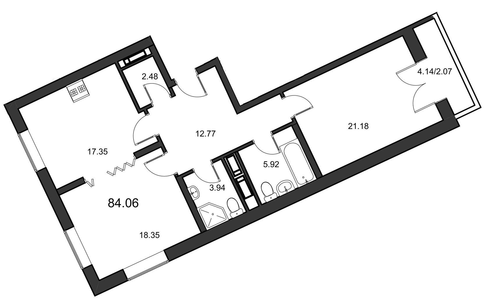 Планировка Двухкомнатная квартира площадью 84.06 кв.м в ЖК «Leningrad»