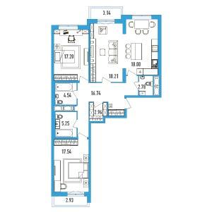 Планировка Трёхкомнатная квартира площадью 106.26 кв.м в ЖК «LENINGRAD»