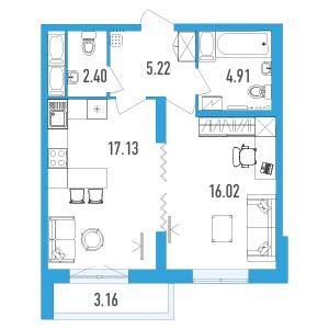 Планировка Однокомнатная квартира площадью 47.25 кв.м в ЖК «LENINGRAD»