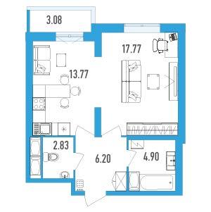 Планировка Однокомнатная квартира площадью 47.01 кв.м в ЖК «LENINGRAD»
