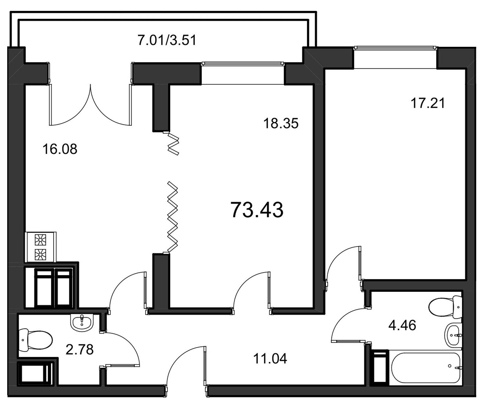 Планировка Двухкомнатная квартира площадью 73.43 кв.м в ЖК «Leningrad»