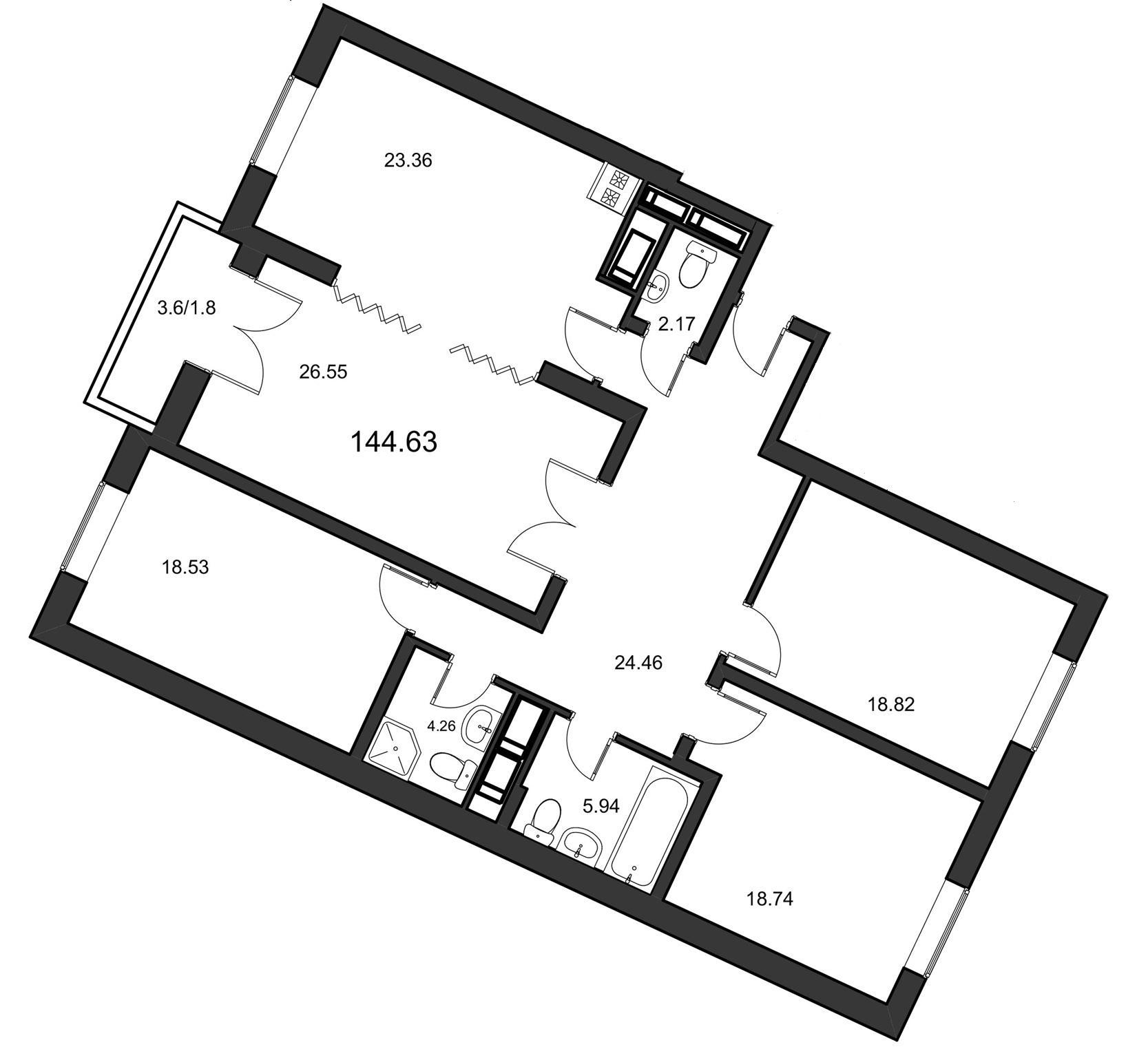 Планировка Четырёхкомнатная квартира площадью 144.63 кв.м в ЖК «Leningrad»