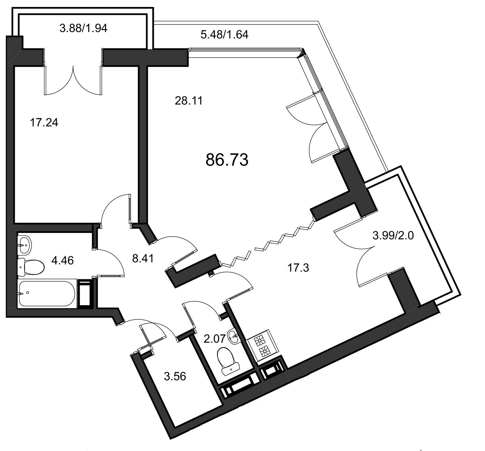 Планировка Двухкомнатная квартира площадью 86.73 кв.м в ЖК «Leningrad»