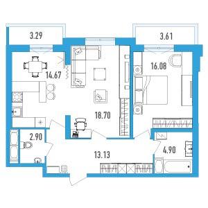 Планировка Двухкомнатная квартира площадью 73.84 кв.м в ЖК «LENINGRAD»