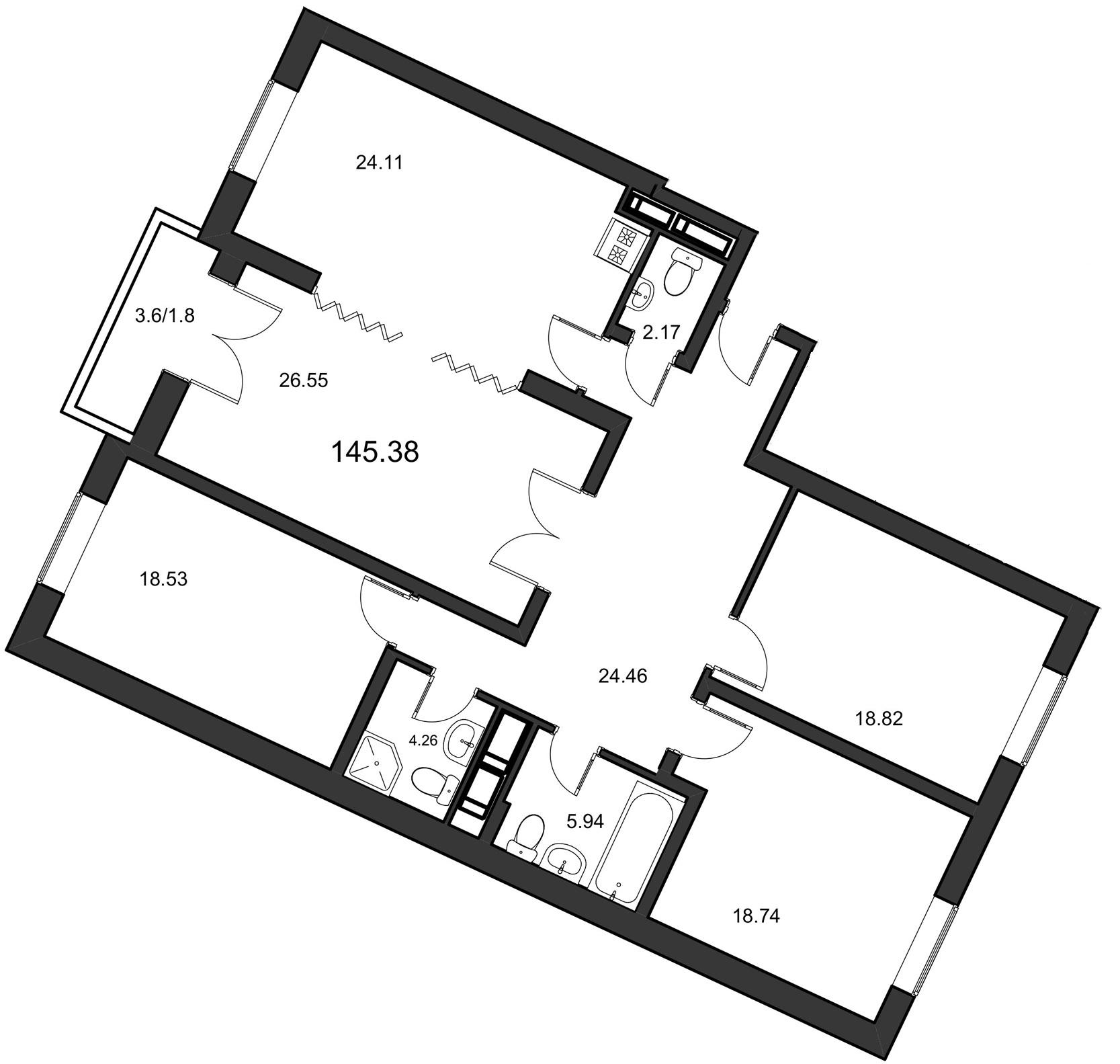 Планировка Четырёхкомнатная квартира площадью 145.38 кв.м в ЖК «Leningrad»