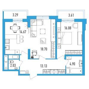 Планировка Двухкомнатная квартира площадью 72.97 кв.м в ЖК «LENINGRAD»