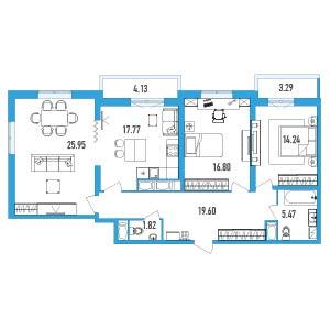 Планировка Трёхкомнатная квартира площадью 105.37 кв.м в ЖК «LENINGRAD»