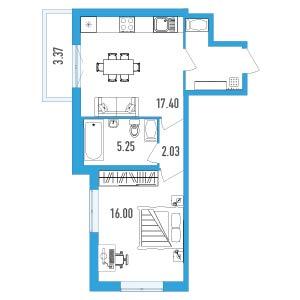 Планировка Однокомнатная квартира площадью 46.43 кв.м в ЖК «LENINGRAD»