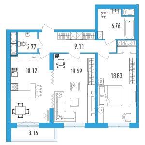 Планировка Двухкомнатная квартира площадью 75.76 кв.м в ЖК «LENINGRAD»