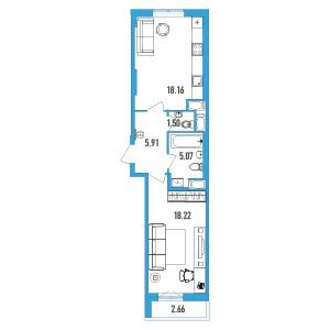 Планировка Однокомнатная квартира площадью 50.18 кв.м в ЖК «LENINGRAD»