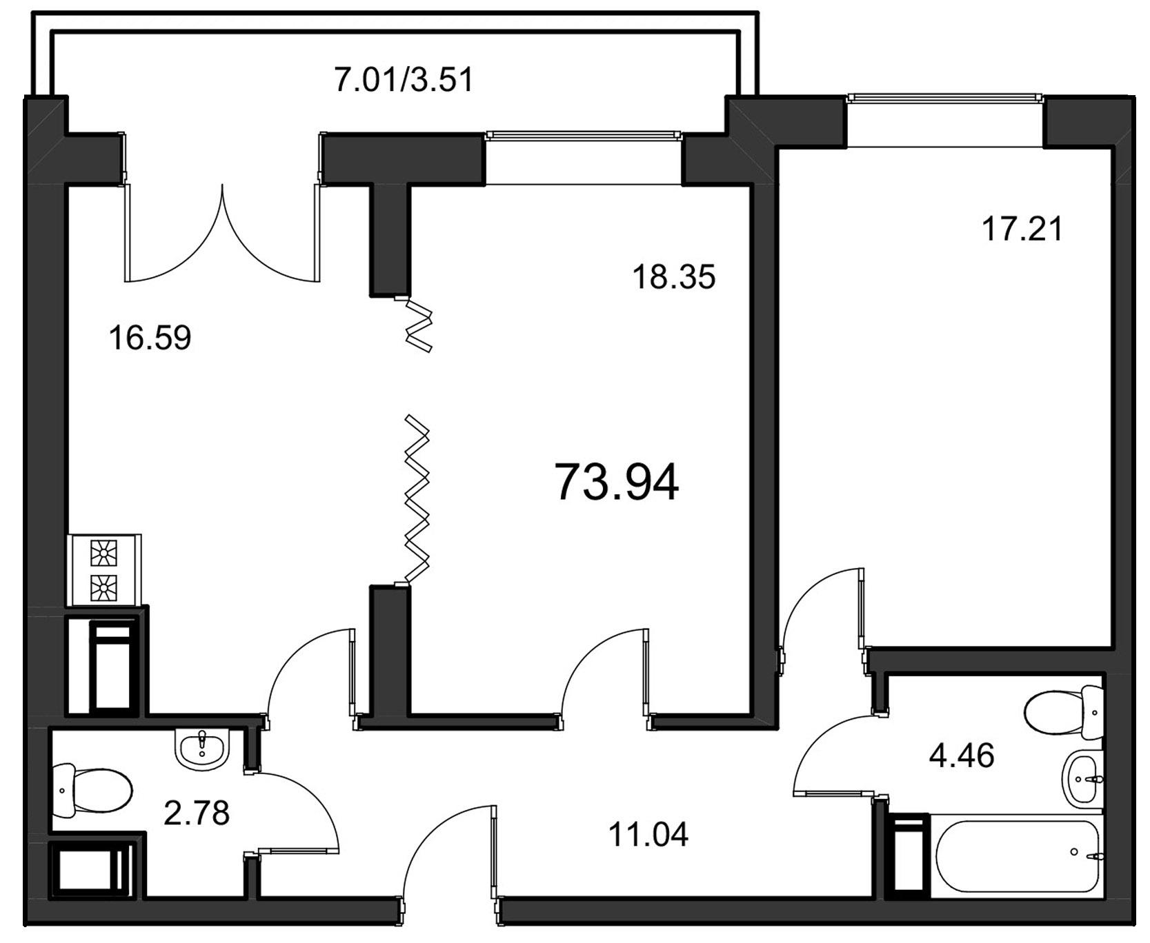 Планировка Двухкомнатная квартира площадью 73.94 кв.м в ЖК «Leningrad»