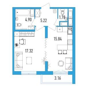 Планировка Однокомнатная квартира площадью 46.64 кв.м в ЖК «LENINGRAD»