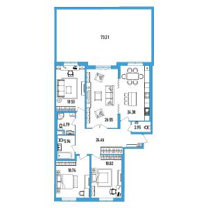 Планировка Четырёхкомнатная квартира площадью 167.12 кв.м в ЖК «LENINGRAD»