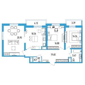Планировка Трёхкомнатная квартира площадью 105.94 кв.м в ЖК «LENINGRAD»